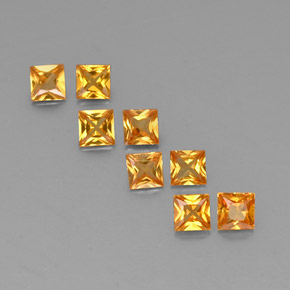 Yellow Orange Sapphire Gem - 0.2ct Princess-Cut (ID: 330867)