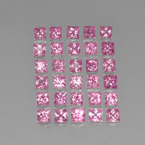 0.18 ct Princess-Cut Medium Pink Sapphire Gemstone 2.87 mm x 2.8 mm (Product ID: 334535)