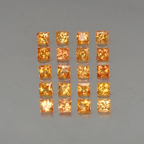 Orange-Gold Zafiro Gema - 0.2ct Corte Princesa (ID: 336148)