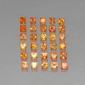 Yellow Orange Sapphire Gem - 0.1ct Princess-Cut (ID: 336360)