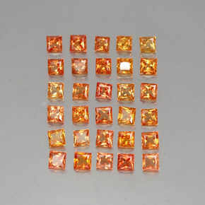 Yellow Orange Sapphire Gem - 0.2ct Princess-Cut (ID: 336362)