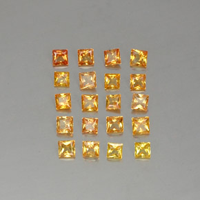 Yellow Golden Sapphire Gem - 0.1ct Princess-Cut (ID: 336365)