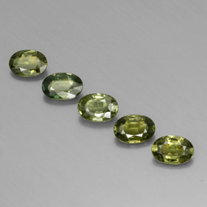 Yellowish Green Sapphire Gem - 0.5ct Oval Facet (ID: 342211)
