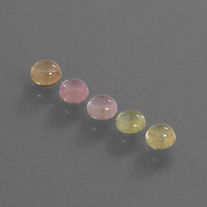 Multicolor Sapphire Gem - 0.4ct Round Cabochon (ID: 344668)