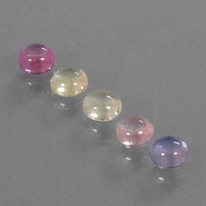 Multicolor Sapphire Gem - 0.6ct Round Cabochon (ID: 344715)