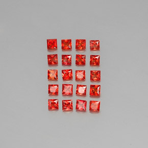 Red Orange Sapphire Gem - 0.1ct Princess-Cut (ID: 345405)