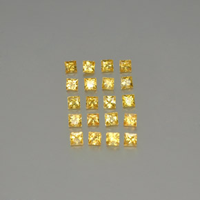Yellow Golden Sapphire Gem - 0.1ct Princess-Cut (ID: 345418)