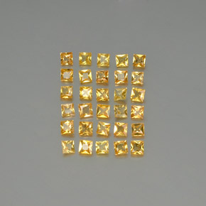 Yellow Golden Sapphire Gem - 0.1ct Princess-Cut (ID: 345420)