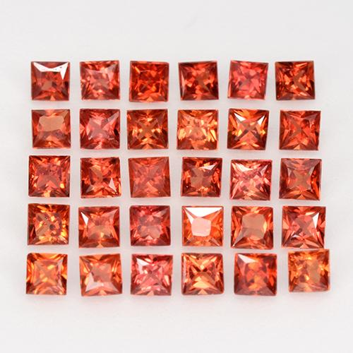 Red Orange Sapphire Gem - 0.1ct Princess-Cut (ID: 345537)