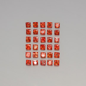 Red Orange Sapphire Gem - 0.1ct Princess-Cut (ID: 345591)