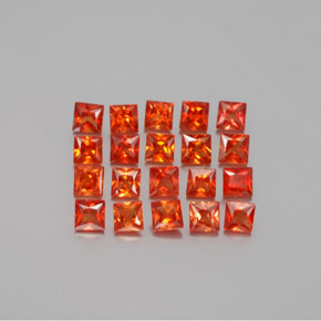 Red Orange Sapphire Gem - 0.1ct Princess-Cut (ID: 346023)