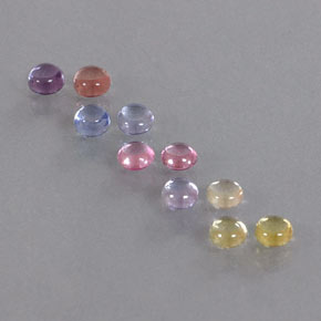 Multicolor Sapphire Gem - 0.3ct Round Cabochon (ID: 347085)
