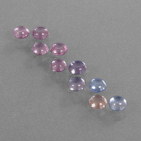 Multicolor Sapphire Gem - 0.2ct Round Cabochon (ID: 347176)