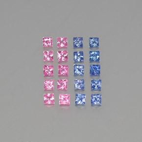 Multicolor Sapphire Gem - 0.1ct Princess-Cut (ID: 347432)