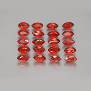 Red Orange Sapphire Gem - 0.2ct Marquise Facet (ID: 350035)