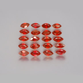 Red Orange Sapphire Gem - 0.1ct Marquise Facet (ID: 350119)