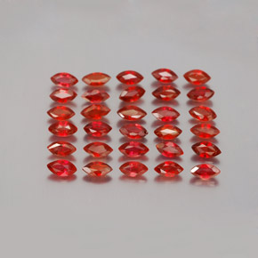 Red Orange Sapphire Gem - 0.1ct Marquise Facet (ID: 350125)