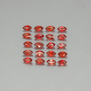 Red Orange Sapphire Gem - 0.2ct Marquise Facet (ID: 350129)