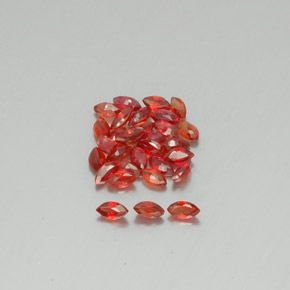 Red Orange Sapphire Gem - 0.1ct Marquise Facet (ID: 350139)