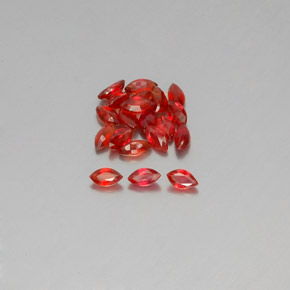 Red Orange Sapphire Gem - 0.2ct Marquise Facet (ID: 350435)