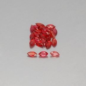 Red Orange Sapphire Gem - 0.1ct Marquise Facet (ID: 350439)