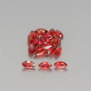 Red Orange Sapphire Gem - 0.2ct Marquise Facet (ID: 350457)