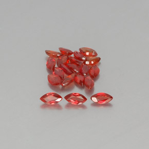 Red Orange Sapphire Gem - 0.2ct Marquise Facet (ID: 350460)