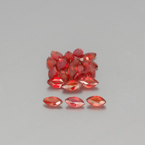 Red Orange Sapphire Gem - 0.1ct Marquise Facet (ID: 350461)