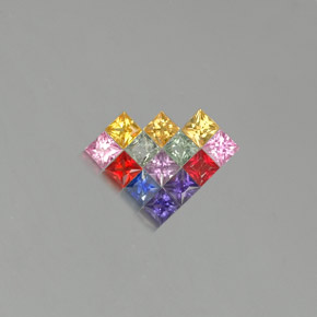 Multicolor Sapphire Gem - 0.1ct Princess-Cut (ID: 351649)