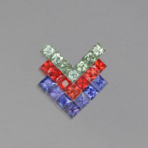 Multicolor Sapphire Gem - 0.2ct Princess-Cut (ID: 353687)