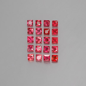 Red Orange Sapphire Gem - 0.1ct Princess-Cut (ID: 353943)