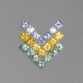 Multicolor Sapphire Gem - 0.1ct Princess-Cut (ID: 353950)