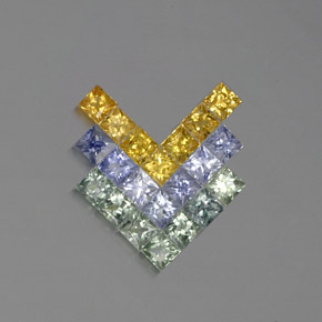 Multicolor Sapphire Gem - 0.1ct Princess-Cut (ID: 353951)