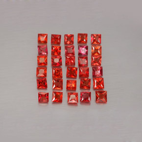 Red Orange Sapphire Gem - 0.1ct Princess-Cut (ID: 354075)