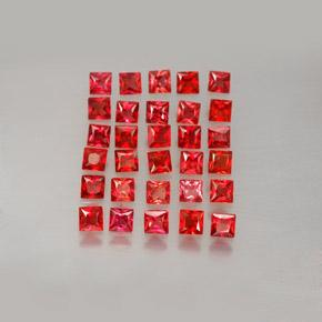 Bright Red サファイア 宝石 - 0.1ct プリンセスカット (ID: 354077)