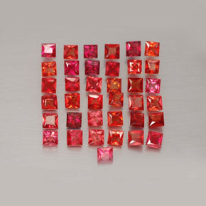 Bright Red Zaffiro Gem - 0.1ct Taglio Princess (ID: 354082)