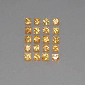 Orange-Gold Sapphire Gem - 0.1ct Princess-Cut (ID: 354091)
