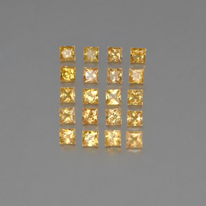 Orange-Gold Zafiro Gema - 0.1ct Corte Princesa (ID: 354095)