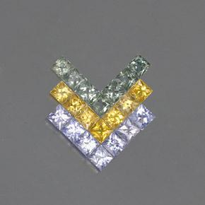 Multicolor Sapphire Gem - 0.2ct Princess-Cut (ID: 354133)