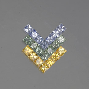 Multicolor Sapphire Gem - 0.1ct Princess-Cut (ID: 354143)