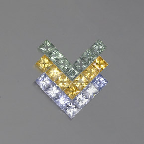 Multicolor Sapphire Gem - 0.2ct Princess-Cut (ID: 354144)