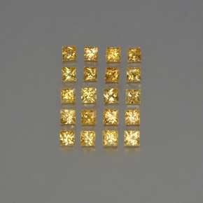 Yellow Golden Sapphire Gem - 0.1ct Princess-Cut (ID: 354175)