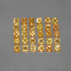 Yellow Golden Sapphire Gem - 0.1ct Princess-Cut (ID: 354222)