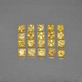 Yellow Golden Sapphire Gem - 0.1ct Princess-Cut (ID: 354227)