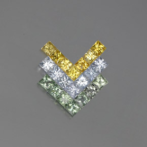 Multicolor Sapphire Gem - 0.2ct Princess-Cut (ID: 354246)