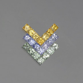 Multicolor Sapphire Gem - 0.2ct Princess-Cut (ID: 354249)