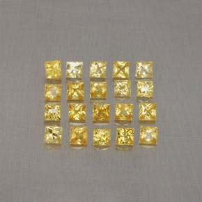 Yellow Golden Sapphire Gem - 0.1ct Princess-Cut (ID: 354458)