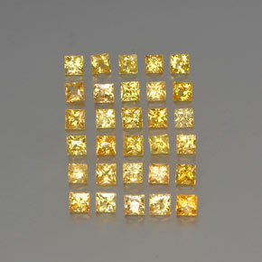 Yellow Golden Sapphire Gem - 0.1ct Princess-Cut (ID: 354502)