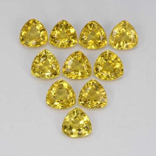 Yellow Golden Sapphire Gem - 0.4ct Trillion Facet (ID: 356668)