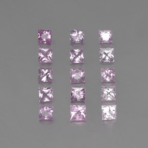 Medium-Light Pink Zafiro Gema - 0.1ct Corte Princesa (ID: 361475)